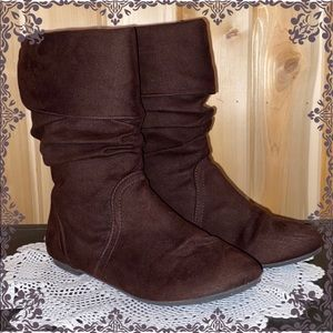 Smartfit Brown Fabric Slouch Boots Sz.6 LIKE NEW